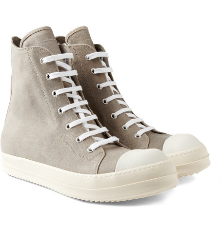 Rick Owens High Top Suede Sneakers