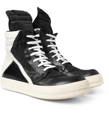 Rick Owens Panelled-Leather High Top Sneakers