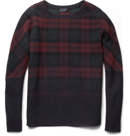 Lanvin Degradé Plaid Wool-Blend Sweater