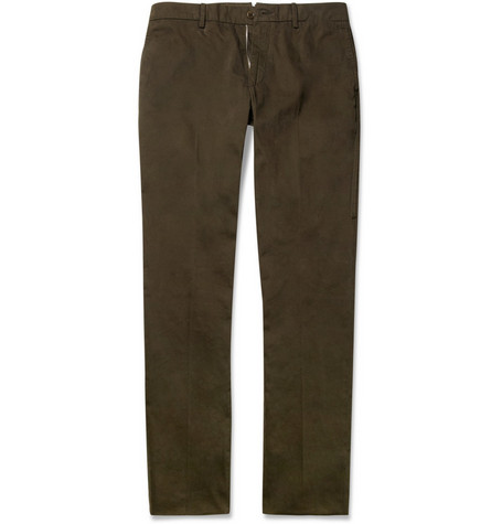 Lanvin Slim-Fit Washed Cotton-Twill Trousers