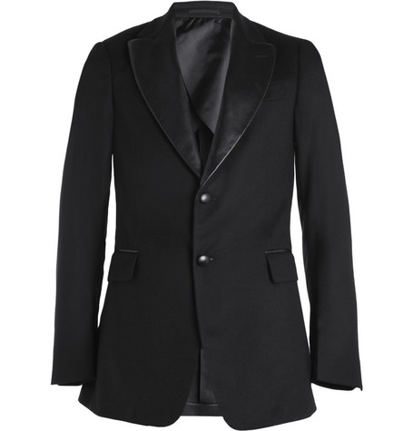 Yves Saint Laurent Slim-Fit Leather-Trimmed Wool Blazer