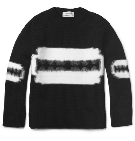 Yves Saint Laurent Razor-Patterned Wool Sweater