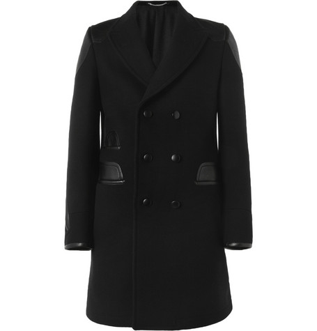 Yves Saint Laurent Leather-Trimmed Wool Coat