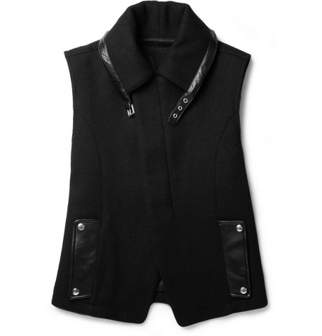 Yves Saint Laurent Slim-Fit Wool-Blend and Leather Gilet
