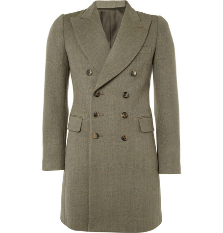 Yves Saint Laurent Double-Breasted Wool-Twill Overcoat