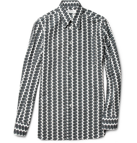 Yves Saint Laurent Slim-Fit Razor Blade-Print Cotton Shirt