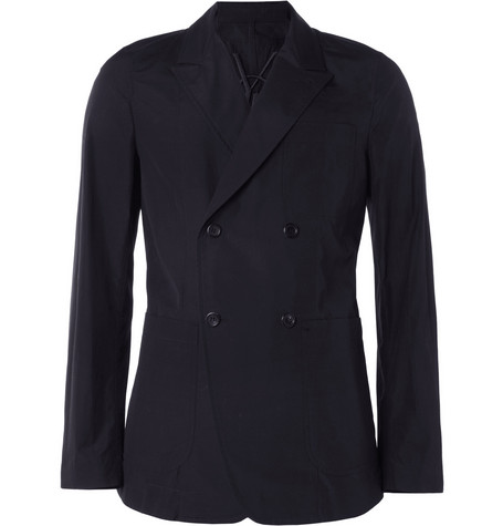 Yves Saint Laurent Unstructured Double-Breasted Slim-Fit Cotton Blazer