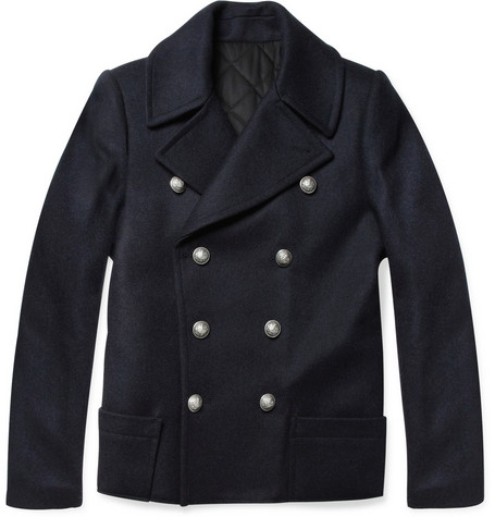 Balmain Slim-Fit Wool Peacoat