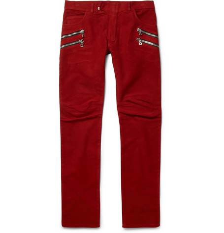 Balmain Slim-Fit Moleskin Biker Trousers