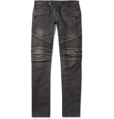 Balmain Distressed Slim-Fit Biker Jeans