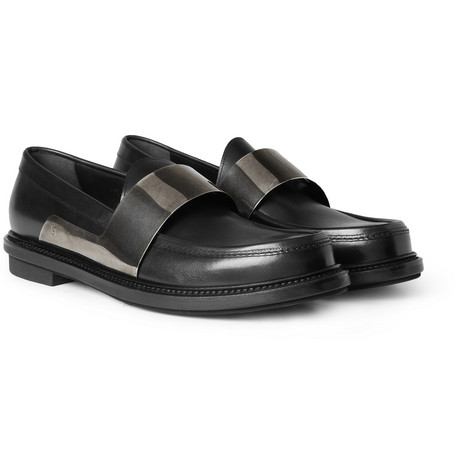 Yves Saint Laurent Metal-Strapped Leather Loafers