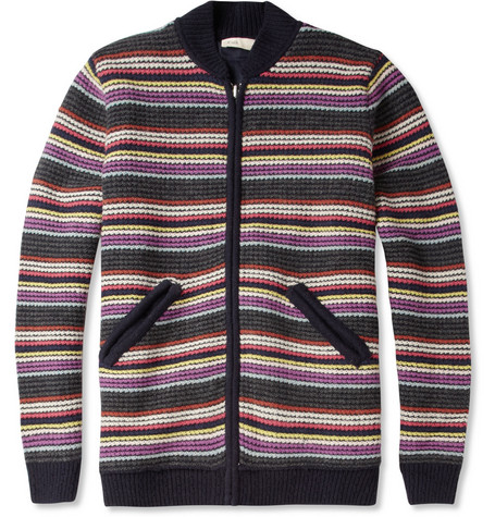 Folk Striped Waffle-Knit Wool-Blend Reversible Bomber Jacket