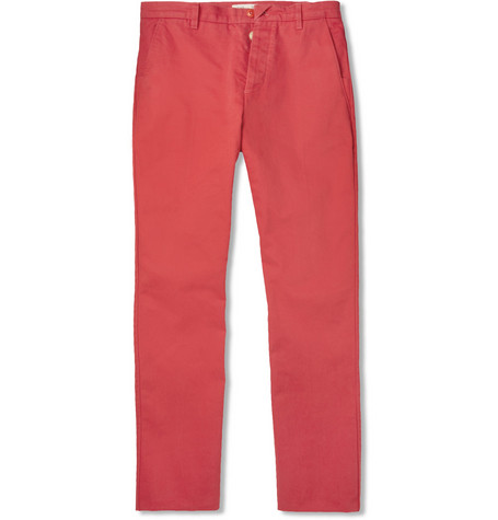 Folk Slim Brushed-Cotton Trousers
