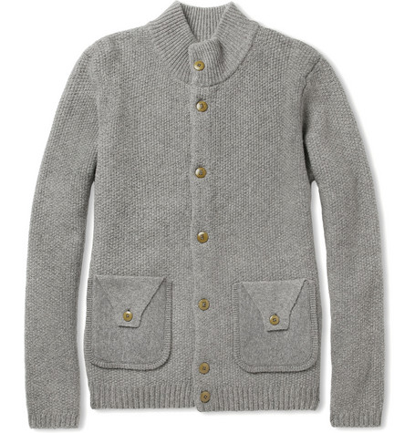 Folk Textured-Knit Merino Wool Cardigan
