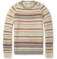 Folk Striped Waffle-Knit Wool-Blend Sweater