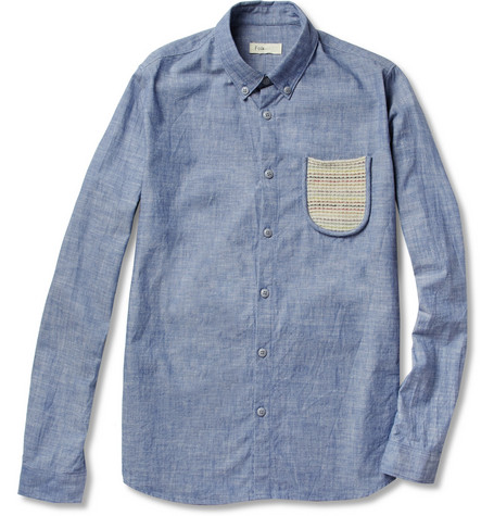 Folk Knit-Pocket Cotton-Chambray Shirt