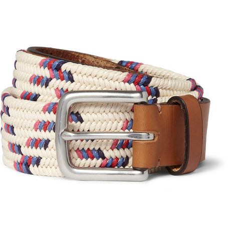 Folk Buckley Leather-Trimmed Woven Belt