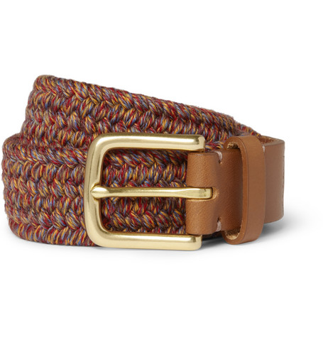 Folk Taylor Leather-Trimmed Woven Belt