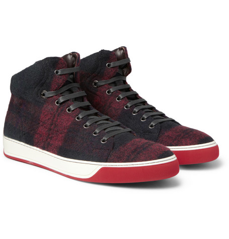 Lanvin Plaid Wool and Leather High Top Sneakers