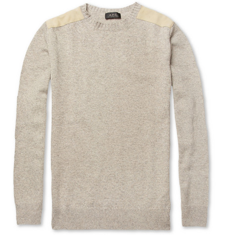 A.P.C. Suede-Trimmed Cashmere-Blend Sweater