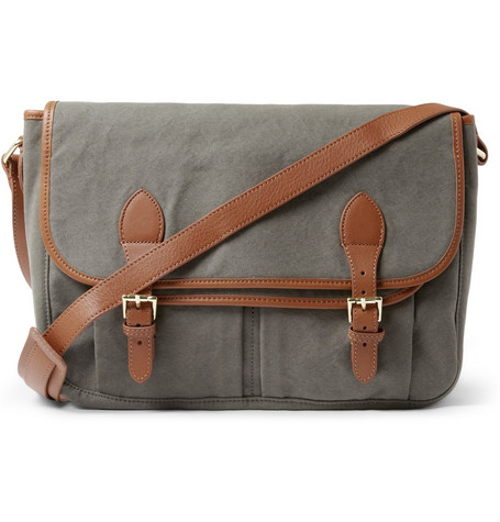A.P.C. Leather and Cotton-Canvas Messenger Bag