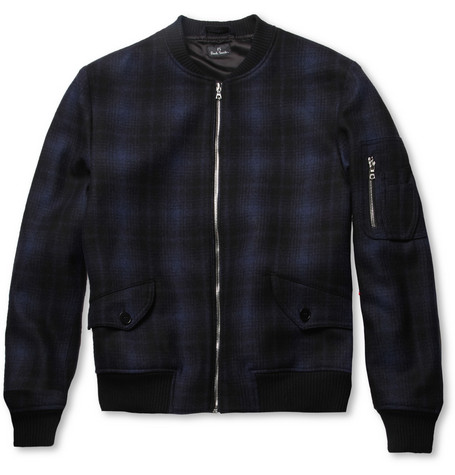 PS by Paul Smith Plaid Wool-Blend Bomber Jacket
