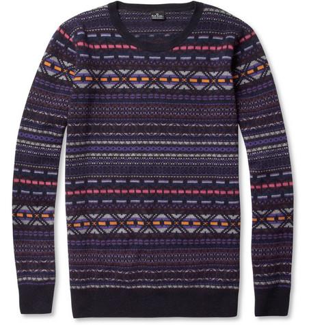 PS by Paul Smith Fair Isle Knitted Crew Neck Sweater