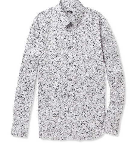 PS by Paul Smith Flower-Print Slim-Fit Cotton Shirt