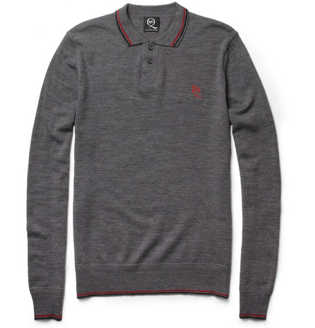 McQ Alexander McQueen Long-Sleeved Fine-Knit Wool Polo Shirt