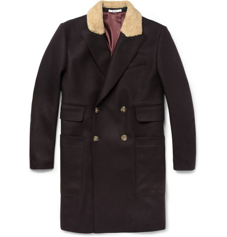 Carven Contrast-Collar Wool-Blend Coat