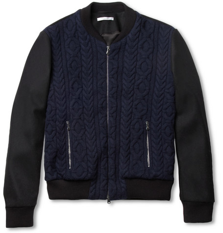 Carven Cable-Knit Wool Bomber Jacket