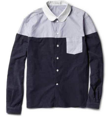 Carven Panelled Corduroy and Oxford Cotton Shirt