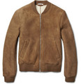 Carven Shearling-Lined Suede Bomber Jacket