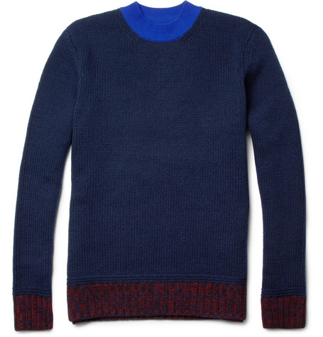 Carven Contrast Merino Wool and Jersey Sweater