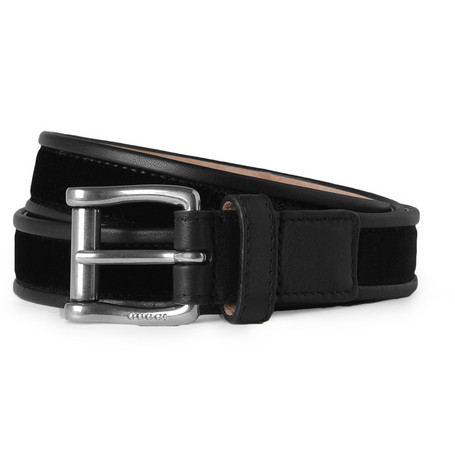 Gucci Slim Leather-Trimmed Velvet Belt