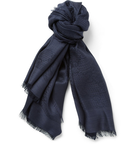 Gucci Jacquard Silk and Wool-Blend Scarf