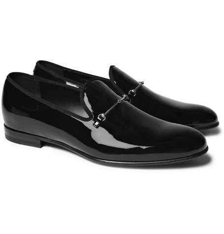 Gucci Patent-Leather Horsebit Slippers