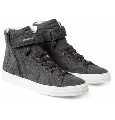 Pierre Hardy Flannel High Top Sneakers