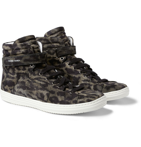 Pierre Hardy Leopard-Print Suede High Top Sneakers