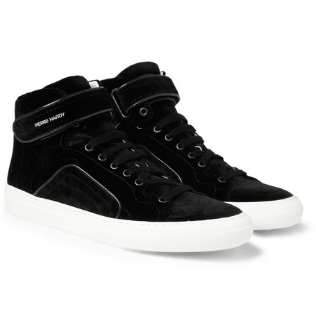 Pierre Hardy Velvet High Top Sneakers