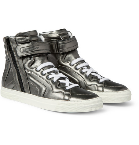 Pierre Hardy Metallic Leather High Top Sneakers