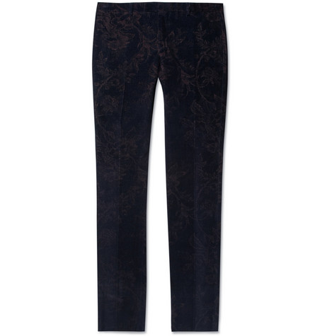 Gucci Slim-Fit Flower-Patterned Velvet Trousers