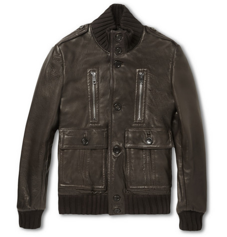 Gucci Padded Leather Bomber Jacket