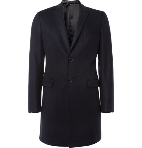 Valentino Leather-Collar Wool Coat