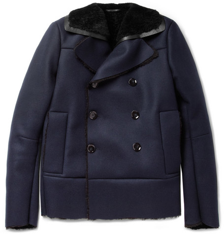 Valentino Shearling-Lined Wool and Cashmere-Blend Peacoat