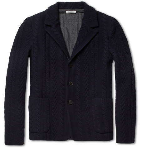 Valentino Bonded Cable-Knit Wool and Cashmere-Blend Blazer