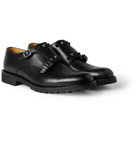 Valentino Studded Chunky-Sole Monk-Strap Shoes
