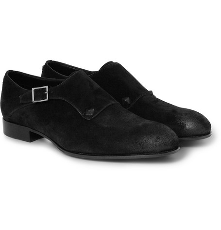 Valentino Studded Suede Monk-Strap Shoes