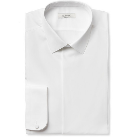 Valentino Bib-Front Piqué Slim-Fit Cotton Tuxedo Shirt