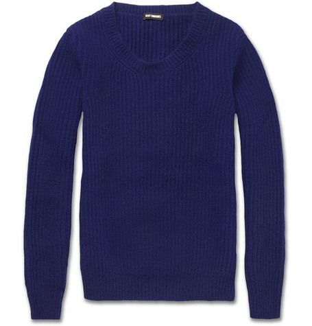 Raf Simons Ribbed Knitted Wool-Blend Sweater